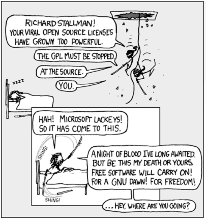 Stallman is attacked in his sleep. All copyrights owned by Randall Munroe and xkcd.com